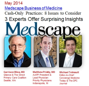 """An Increasingly Growing Movement? It's easy to get the impression that many doctors, fed up with traditional medicine, are about to switch to concierge medicine and direct primary care. For example, a 2012 survey of some 14,000 physicians by Merritt Hawkins found that nearly 7% of practice owners planned to switch to a concierge practice in the next 1-3 years.[1] According to the Association of American Medical Colleges, there were 817,850 active physicians in the United States in 2012, the latest year for which statistics are available.[2] How many of these doctors are in concierge or direct primary care practices? """"We believe — and this is after years of verifying doctors, talking with actual doctors, talking with business leaders, and talking with physicians who are influencers — that there are slightly less than 4000 physicians who are verifiably, actively practicing concierge medicine or direct primary care across the United States, with probably another 8000 practicing under the radar,"""" Michael Tetreault estimates. Matthew Priddy, whose organization includes physicians in both groups, figures that there are about 5000 concierge and direct primary care physicians nationwide. But he also believes that a sizable number of concierge and direct primary care physicians don't want to draw attention to themselves and keep a low profile. Right now, far more traditional doctors are telling surveyors that they plan to switch than actually appear to be doing it."""