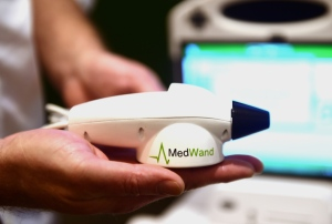 The MedWand medical measurement multi-tool is displayed at CES 2016 in Las Vegas, Nevada, January 7, 2016. The MedWand is a consumer-friendly medical device that connects to a computer enabling a doctor in any location to conduct examinations of patients who are in another city, state or country. (PHOTO: ROBYN BECK/AFP/Getty Images) http://miami.cbslocal.com/photo-galleries/2016/01/08/top-tech-at-ces-2016/