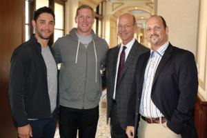 LA Kings players, Alec Martinez and Matt Greene, join Doctors Ron Kvitne and Gil Tepper at the Prime Surgeons launch.