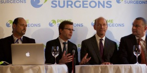 Master surgeons and Prime Surgeons leadership team (from left to right) Dr. Gil Tepper, CEO and Founder, Dr. Daniel Kelly, co-Founder, Dr. Ron Kvitne, Chairman of Sports Medicine, and Dr. David Ghozland, Chairman of Gynecology.