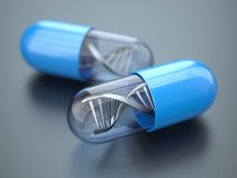 Blue pills with DNA structure. Medicine concept